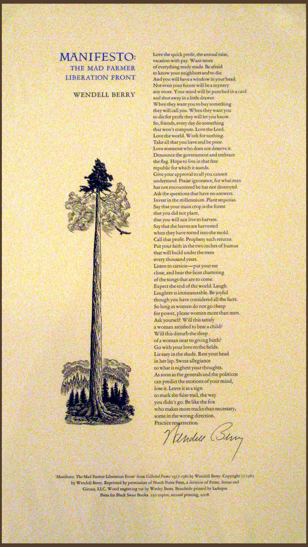 wendell berry broadside