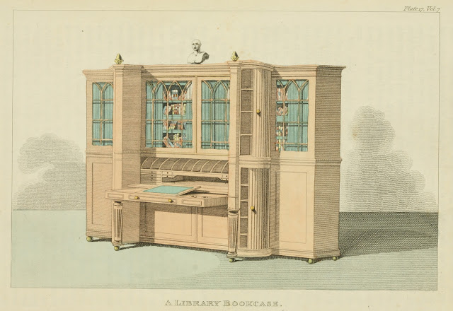 Ackermann's Repository  1812 v7 Furniture plate 17 Library bookcase