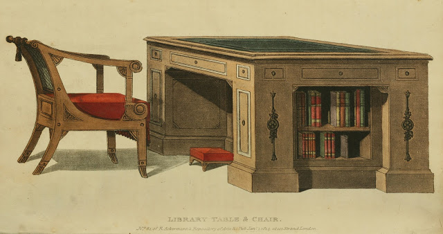 Ackermann's Repository  1814 v11 Furniture plate 6 Library Table & chair