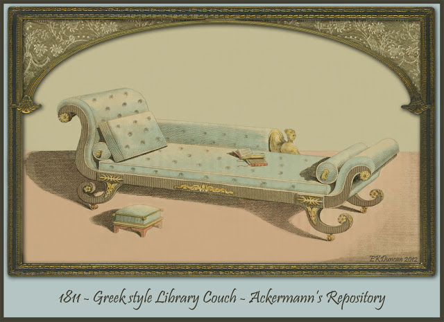 Ackermann's Repository1811 Regency Furniture - Library Couch