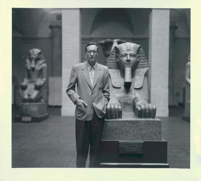 William Burroughs in front of sphinx