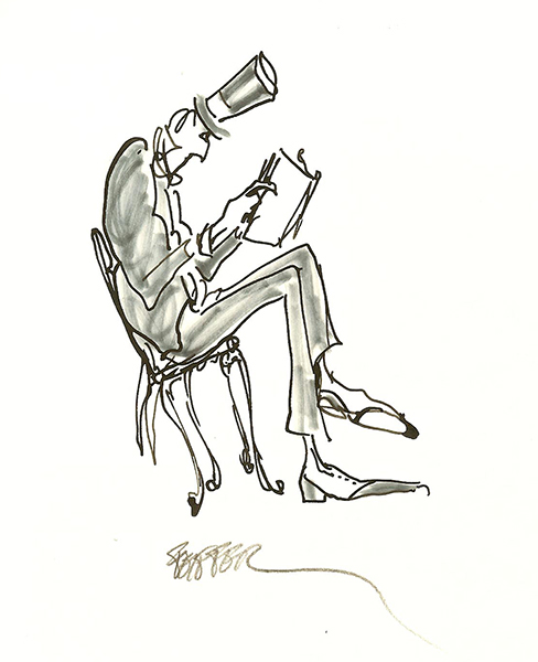 feiffer man-in-top-hat-reading-seated-5x4